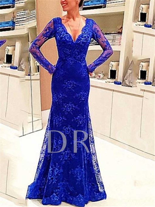 Long Sleeve V-Neck Sheath Evening Dress