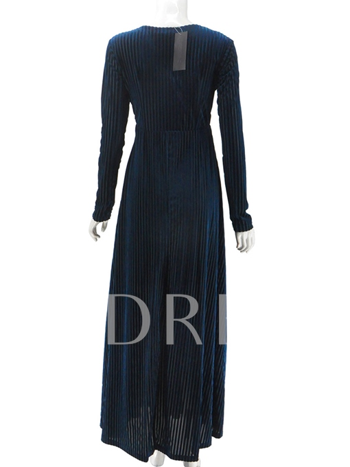 Corduroy V Neck Women's Maxi Dress