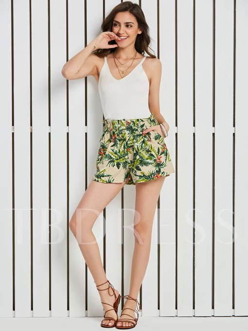 High-Waist Plant Print Vacation Women's Shorts