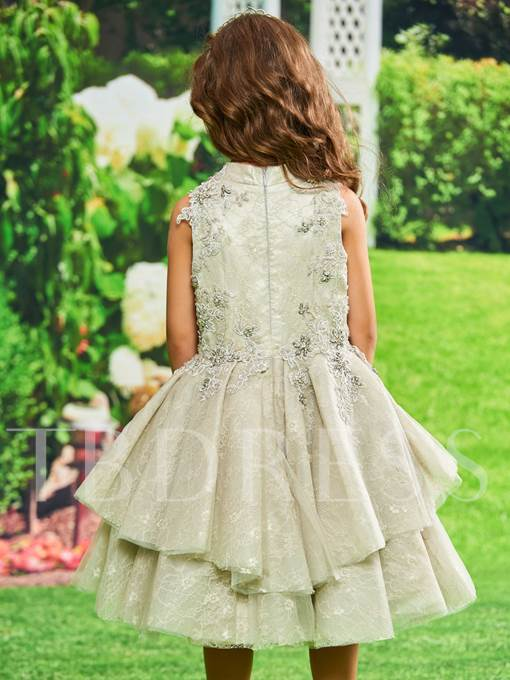 Beaded Appliques Lace Girls Party Dress