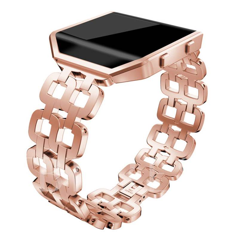 Fitbit Blaze Smart Watch Band with Frame for Ladies,Double Chain Strap