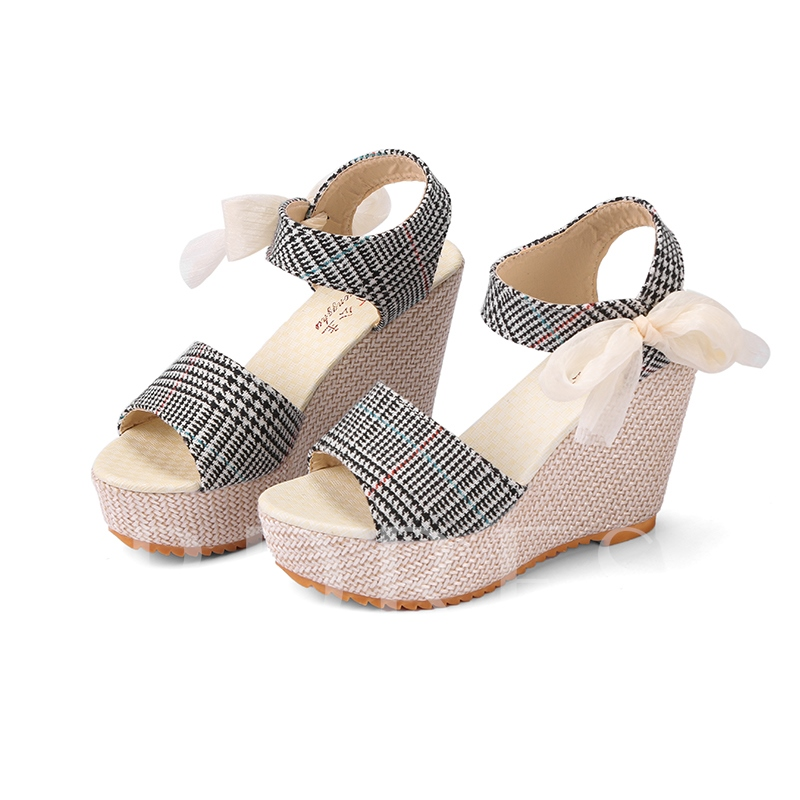 Buy Plaid Cloth Platform Wedge Heel Lace Up Sandals for Women, Spring,Summer, 13147139 for $18.99 in TBDress store
