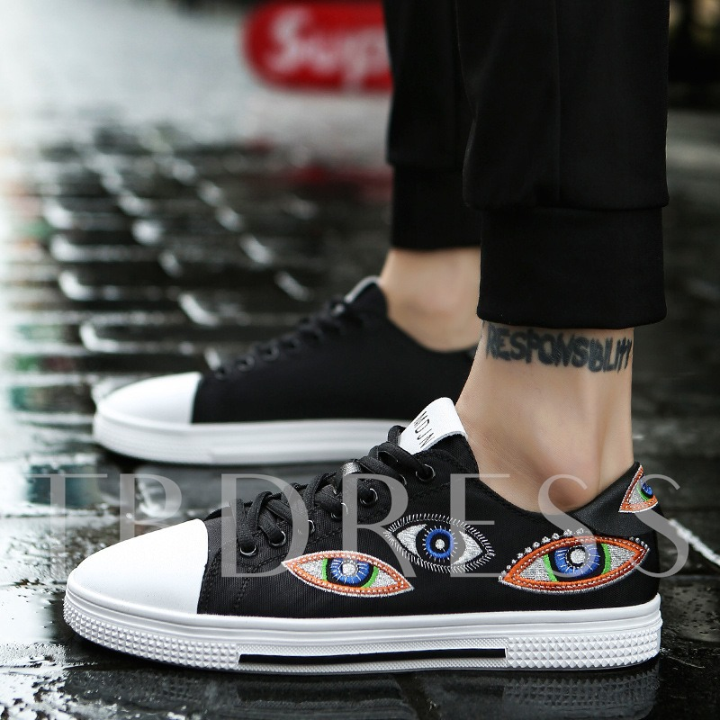 Embroidery Eye Men's Flat Skateboard Shoes