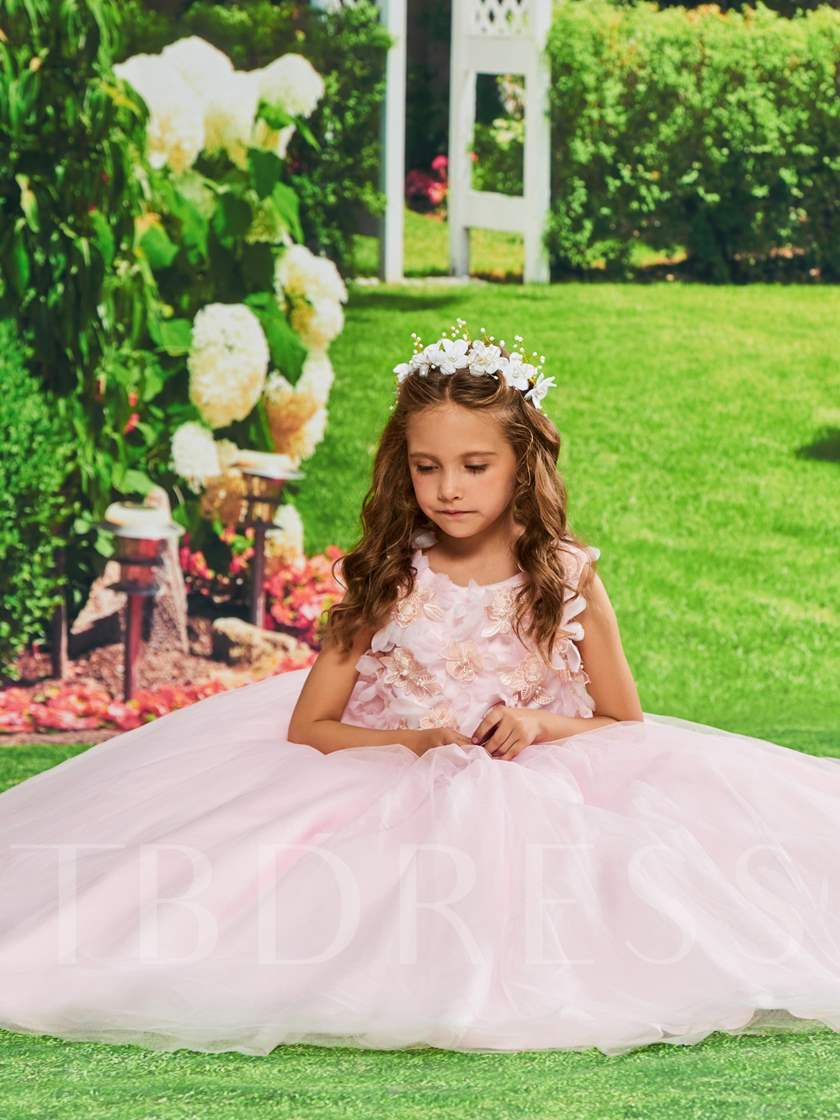 Flowers Appliques Girls Party Dress