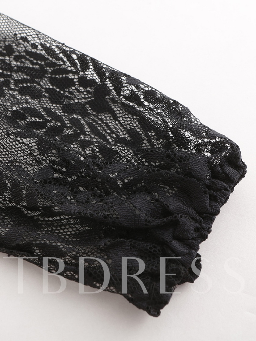 Sexy Deep V-Neck Lace See-Through Women's T-shirt