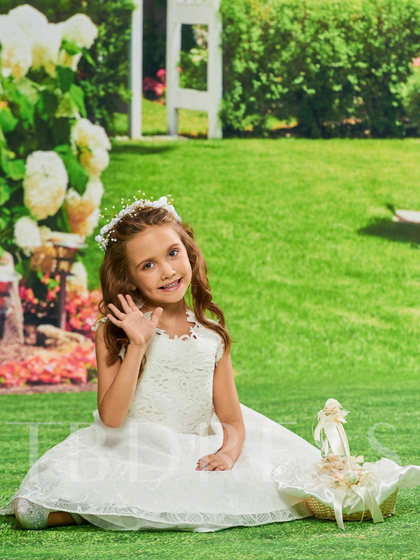Straps Beaded Lace Flower Girl Dress