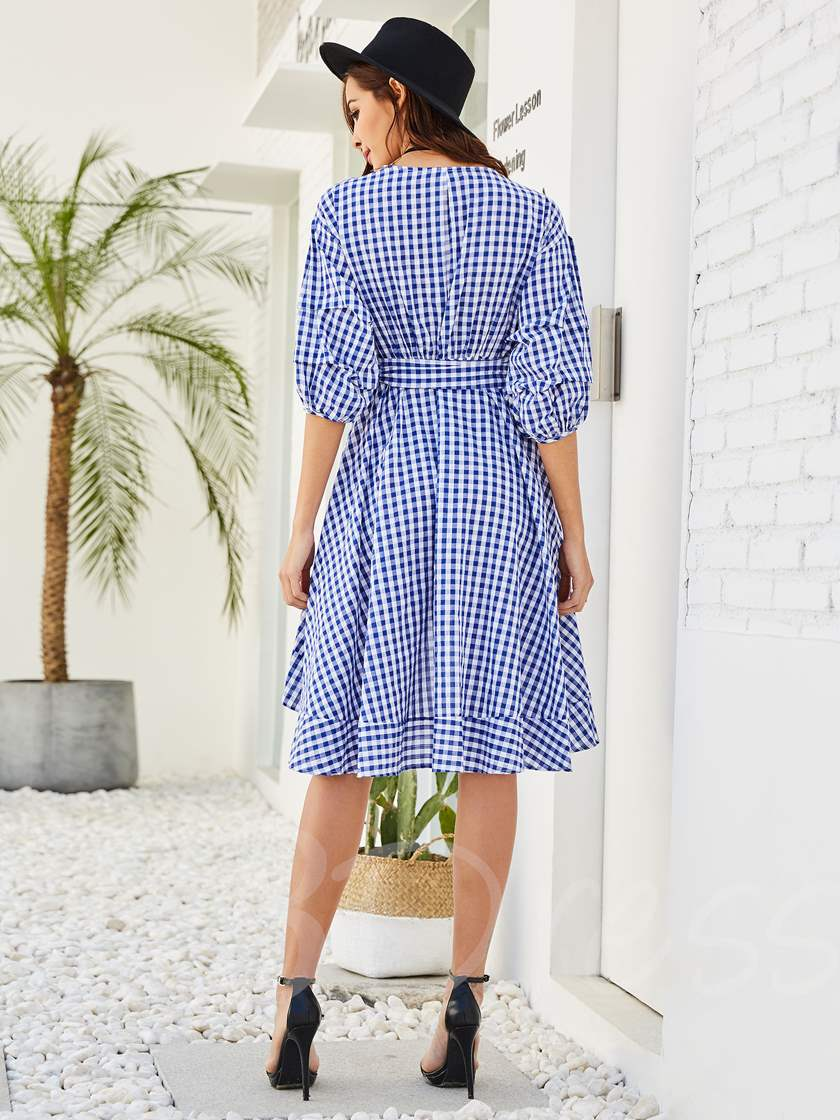 V-Neck Plaid Lantern Sleeve Women's A-Line Dress