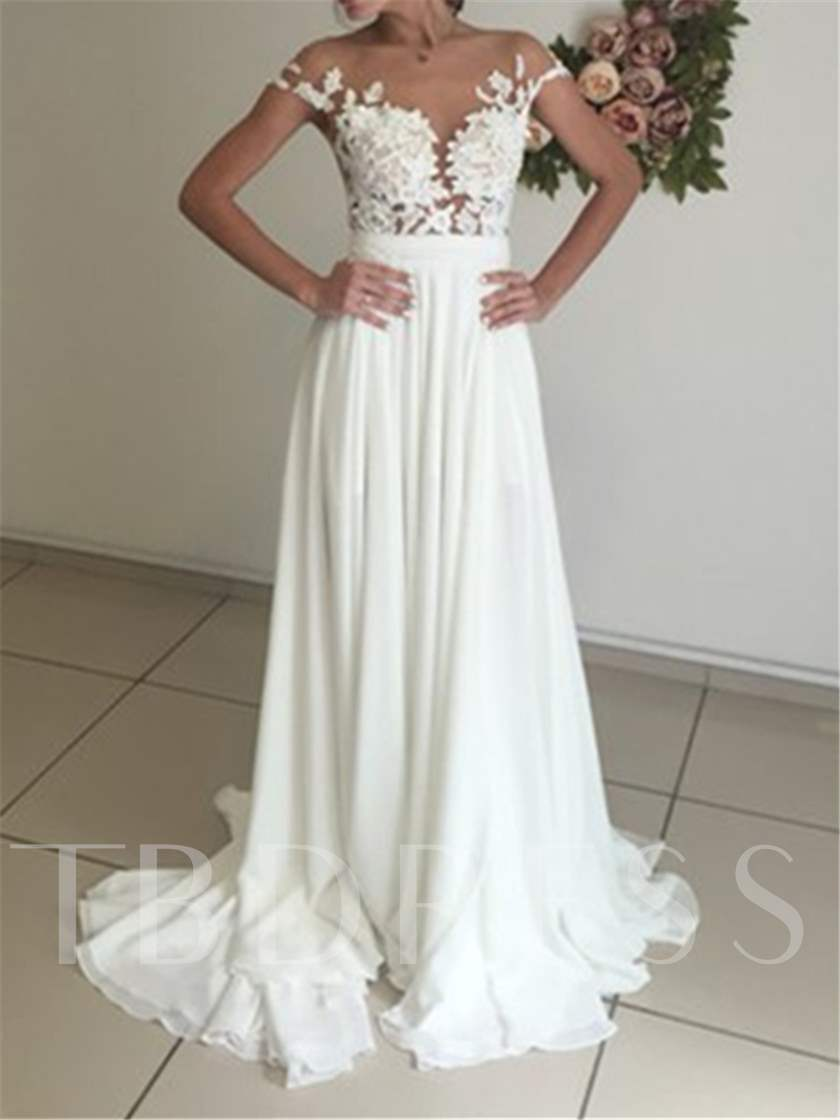 Cap Sleeves Appliques Button Beach Wedding Dress