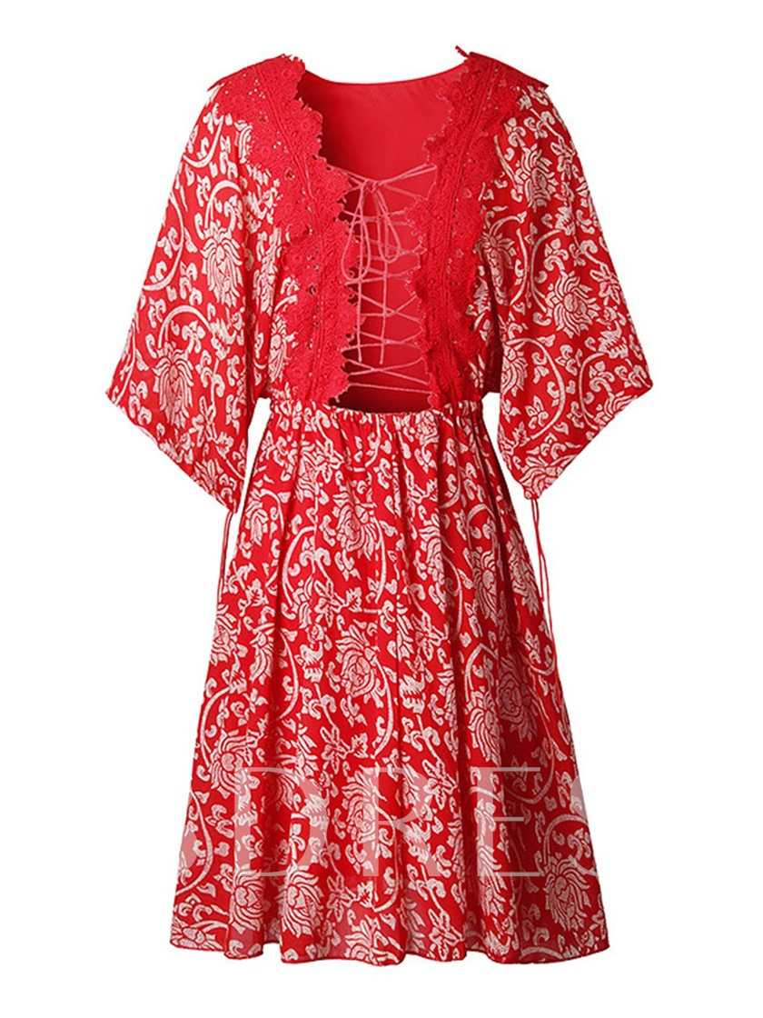 Red Half Sleeve Lace up Women's Day Dress