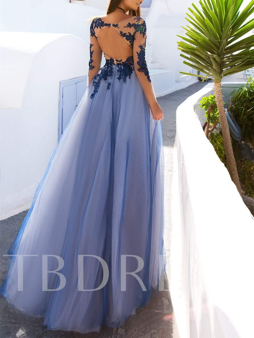 Appliques Button A-Line Bateau Backless Evening Dress