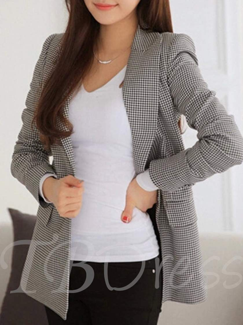 All-Matched Notched Lapel Checkered Women's Blazer