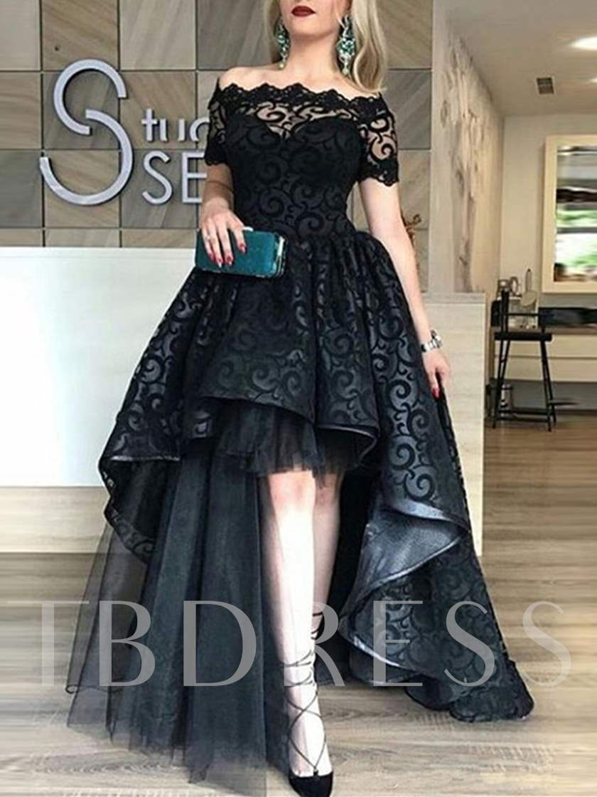 A-Line Lace Off-the-Shoulder Sweep Train Evening Dress
