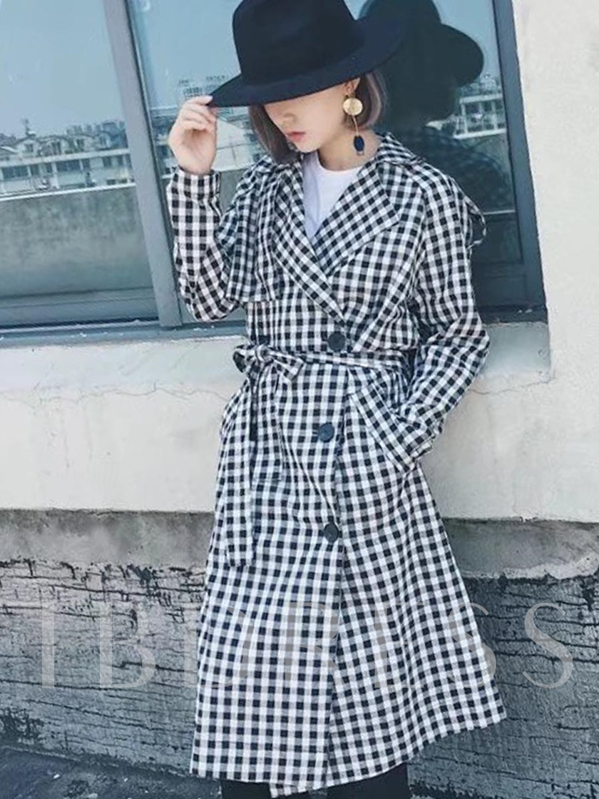 Lace-Up Double-Breast Women's Plaid Overcoat