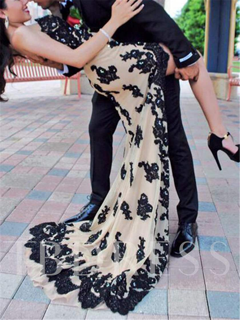 Asymmetrical Length Lace Sweep Train Evening Dress