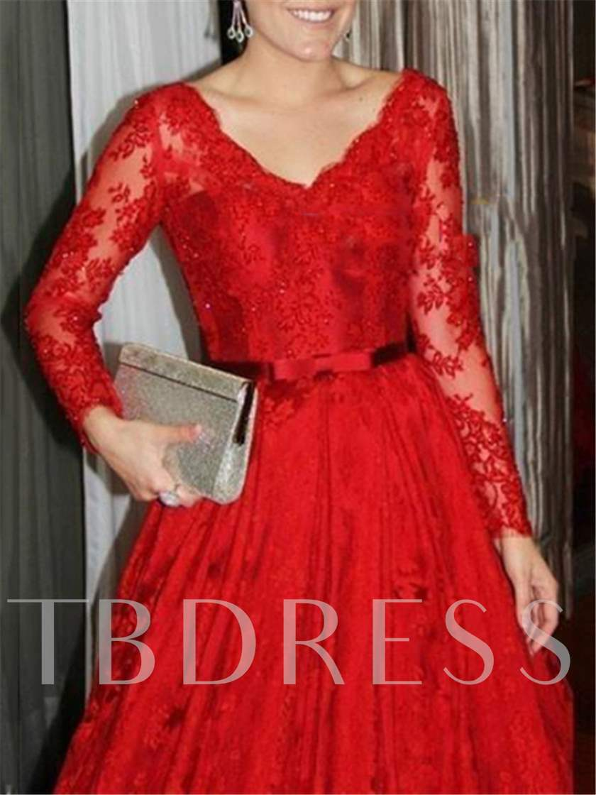 V-Neck Long Sleeves Bowknot Lace Evening Dress