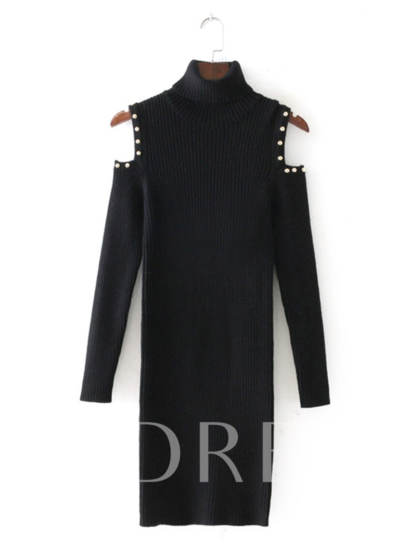 Black Cold Shoulder Buttons Women's Sweater Dress