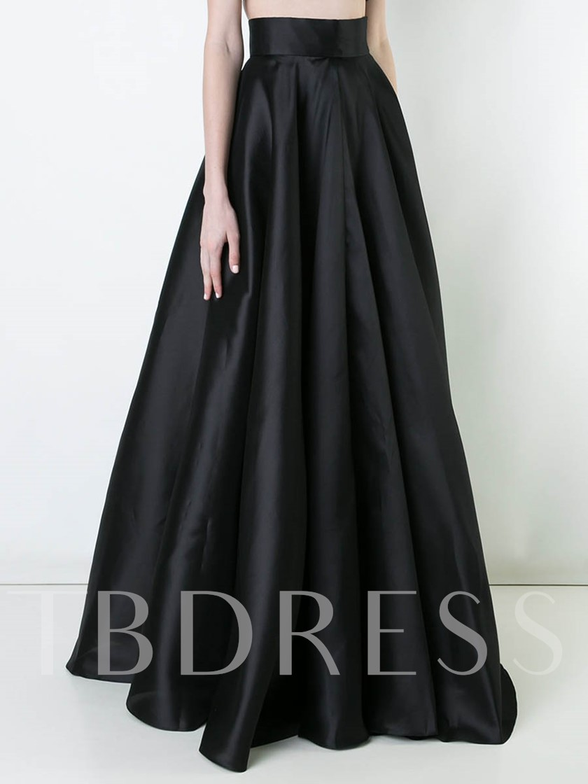 High Waist Plain Pleated Long Maxi Skirt