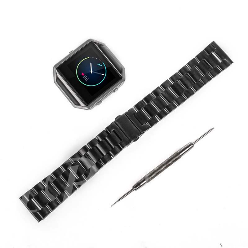 Smart Watch Band with Frame Stainless Steel Replacement for Fitbit Blaze