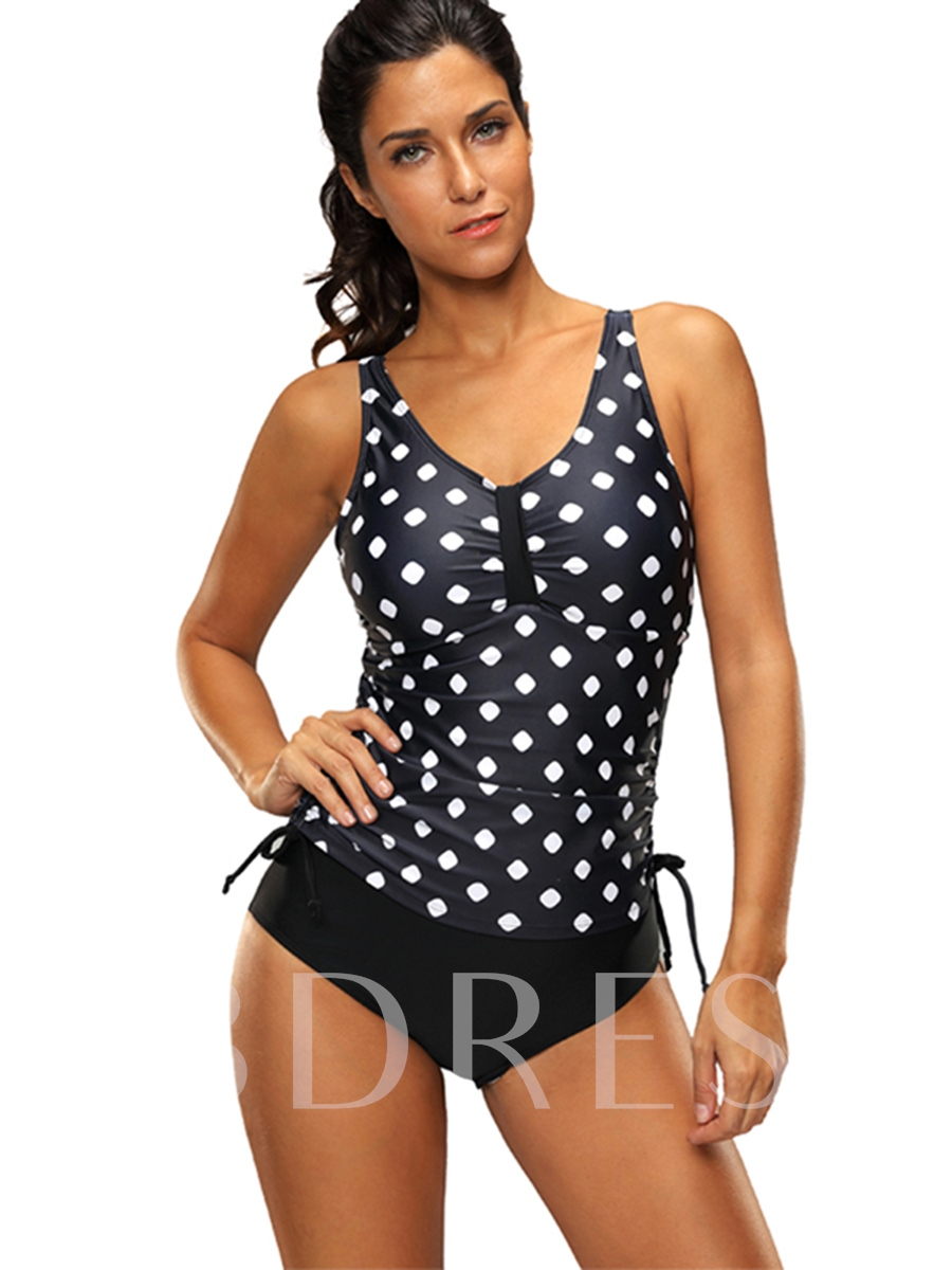 Buy Polka Dots Pleated Backless Tankini Set, 13163230 for $20.25 in TBDress store