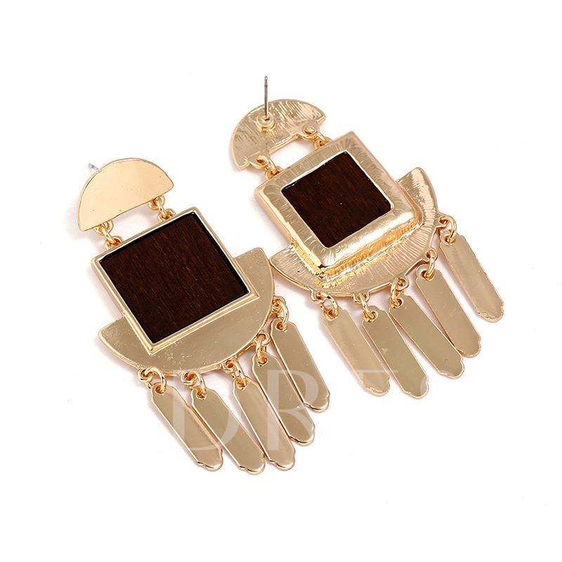 Wood Square Semicircle Alloy Earrings