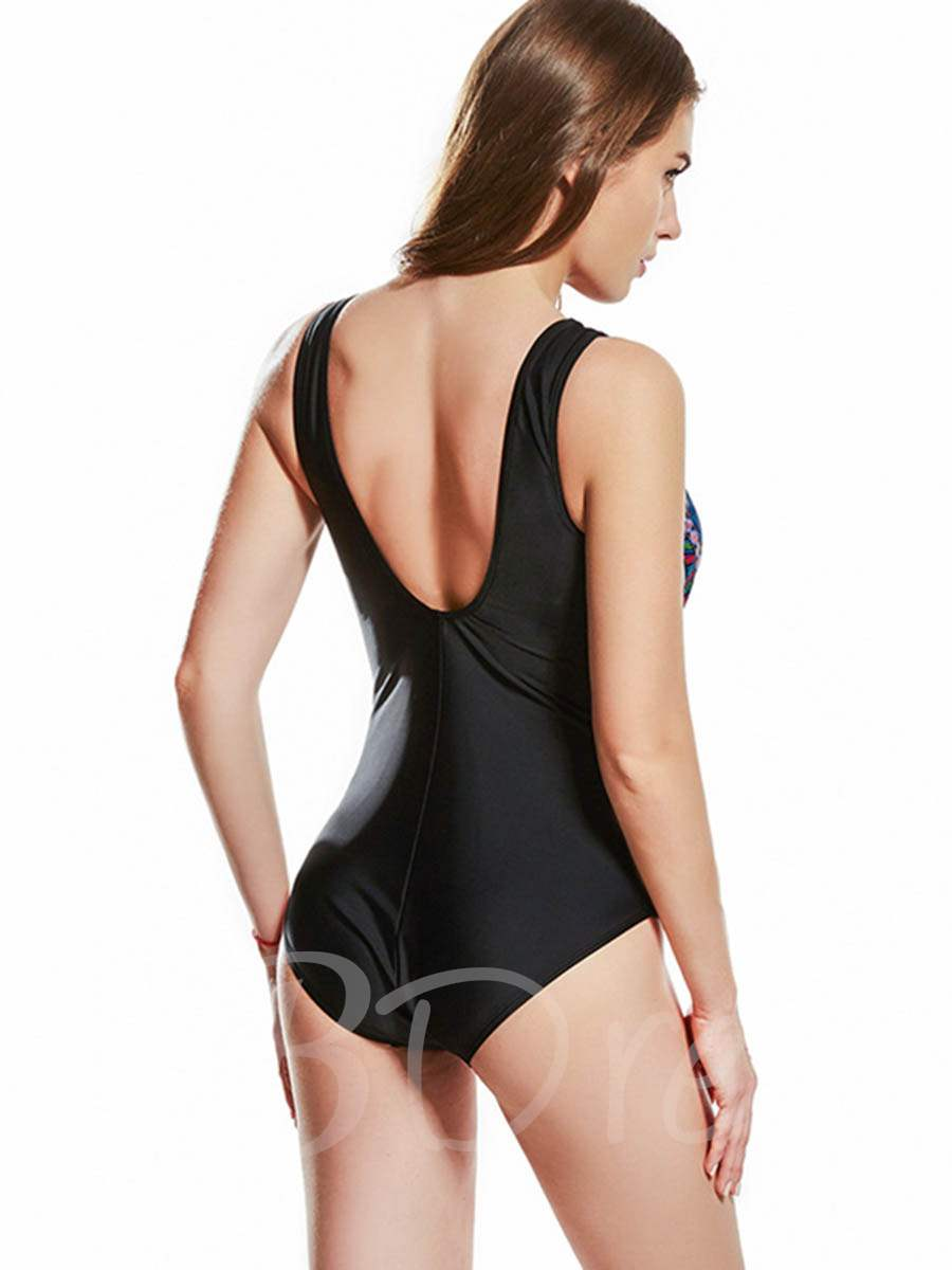 Color Block Mesh Pleated One-Piece Swimsuit
