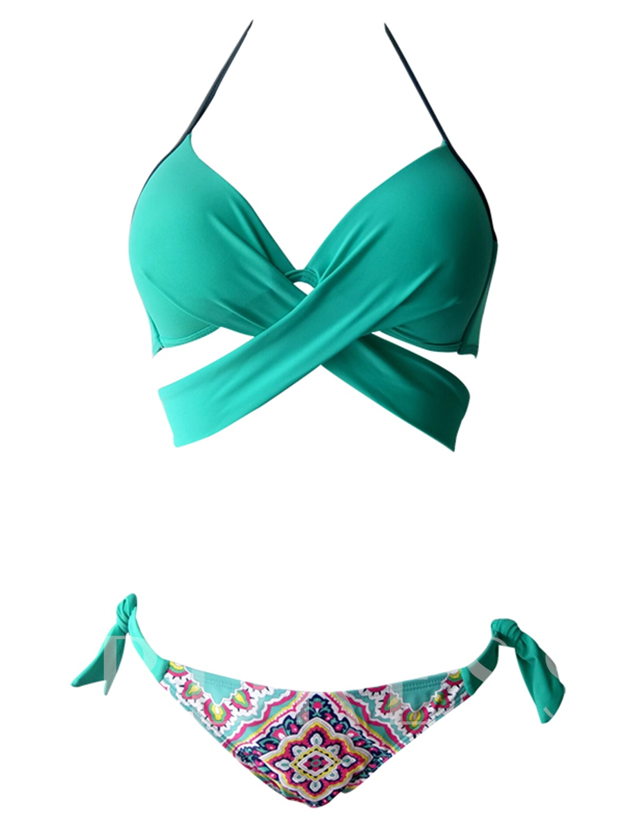Print Lace-Up Halter Wrap Bikini Top Set