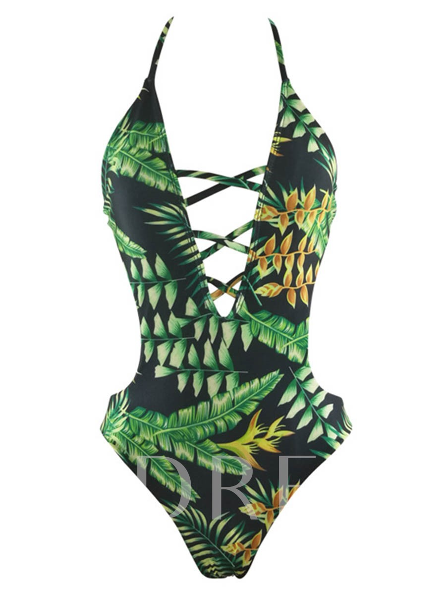 V-Neck Leaf Print Backless Monokini