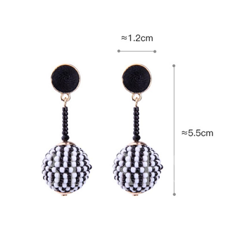 Beads Color Block Ball-Shaped Earrings