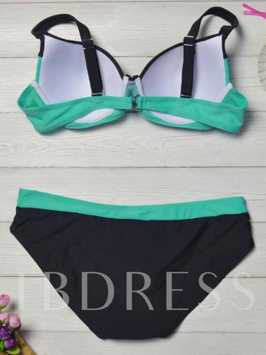 Simple Color Block Two-Piece Swimsuit