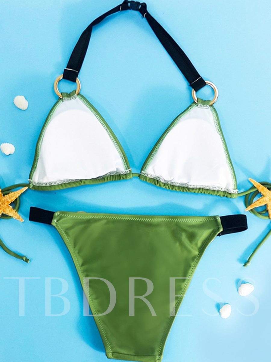 Green Iron Ring Halter Bikini Set