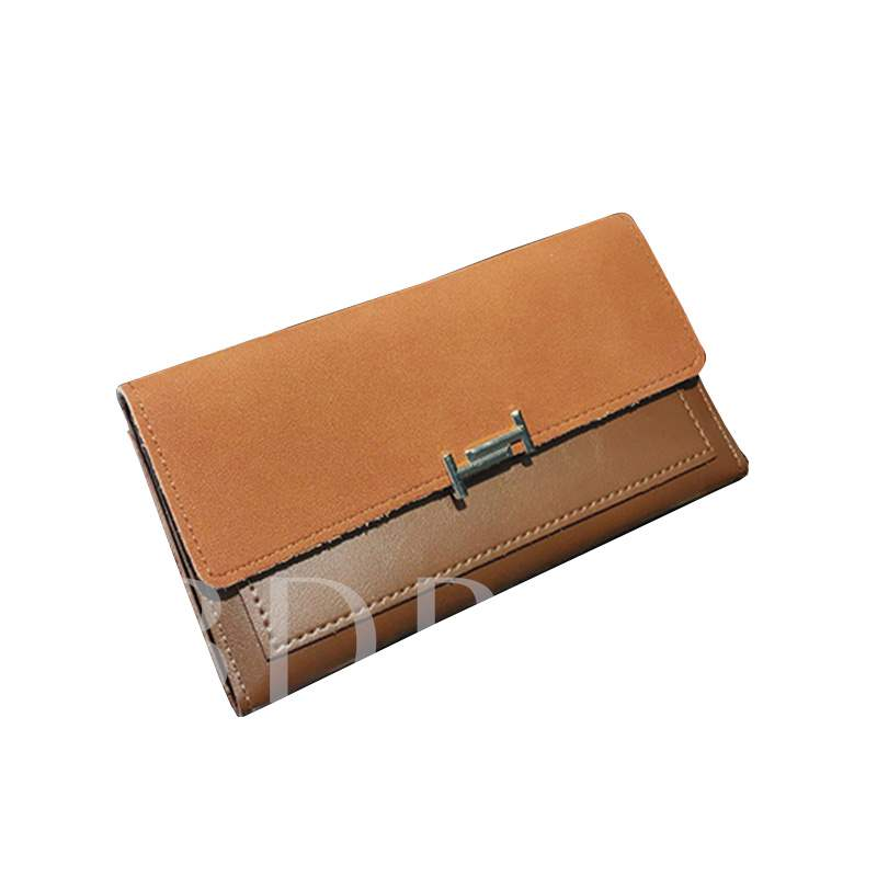Long Type Plain PU Women Wallet