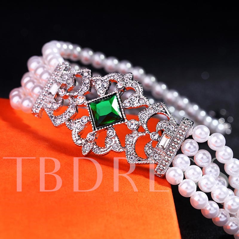 Synthetic Pearl Emerald-Green Multilayer Choker Torques