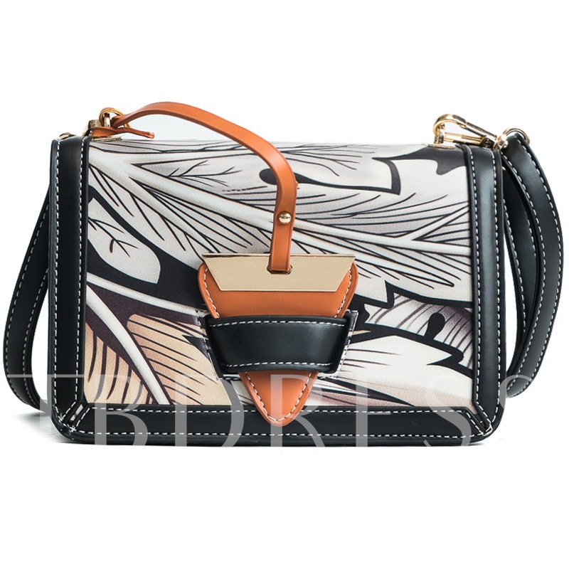 Geometric Pattern Color Block Cross Body Bag