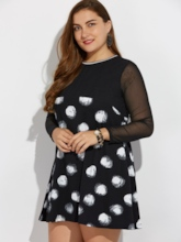 Plus Size Polka Dots Mesh Women's Day Dress