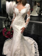 Long Sleeves Button Appliques Mermaid Bridal Gown