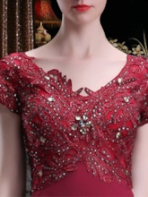 Appliques Beading Short Sleeve Mother of the Bride Dress
