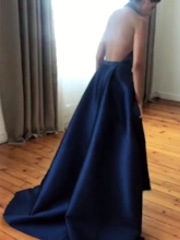 A-Line Pleats Halter Sashes Court Train Evening Dress