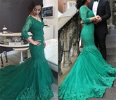 V-Neck 3/4 Length Sleeves Appliques Mermaid Evening Dress