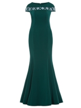 Short Sleeves Mermaid Evening Dress