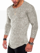 Round Collar Patchwork Solid Color Slim Men's T-Shirt