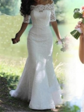 Hot Sale Mermaid Half Sleeve Lace Wedding Dress