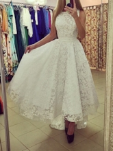 A-Line Lace High Low Prom Dress
