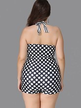 Polka Dots Stripe Halter Plus Size One-Piece Swimsuit