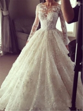 Bateau Neck Appliques Long Sleeves Ball Gown Wedding Dress 2020