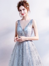A-Line V-Neck Lace Sequins Beading Evening Dress