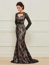 Mermaid Black Lace Mother of the Bride Dress