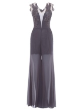 V Neck Appliques A Line Evening Jumpsuits
