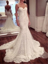 Spaghetti Straps Backless Mermaid Lace Wedding Dress