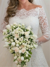 Off the Shoulder Appliques Lace Wedding Dress with Long Sleeve