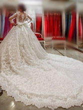 3/4 Length SleeveCathedral Train Lace Wedding Dress